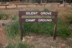 Day 25 Silent Grove sign camping sign